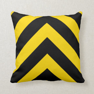 Bold Highway Traffic Bumble Bee Chevrons Throw Pillow