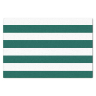 Bold Horizontal Pine Green and White Stripes Tissue Paper