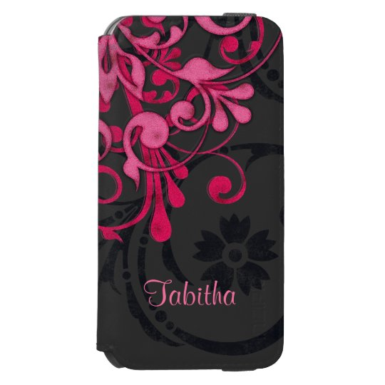 Bold Hot Pink Black Elegant Floral Incipio Watson™ iPhone 6 Wallet Case