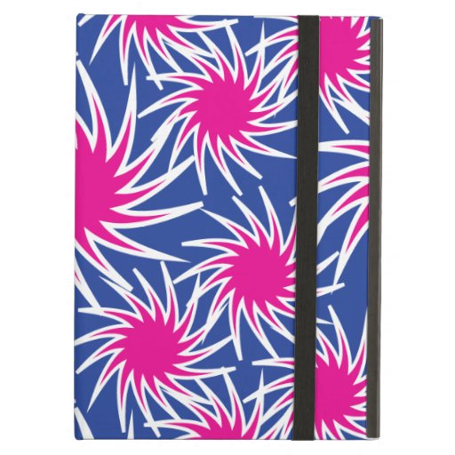 Bold Hot Pink Blue Spiraling Wheels Funky Pattern iPad Cover