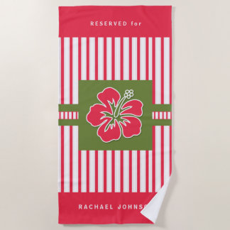 Bold Hot Pink Hibiscus and Stripes with Name Beach Towel