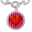Bold Hot Pink, Red Stripes, Red Metallic Heart Bracelet