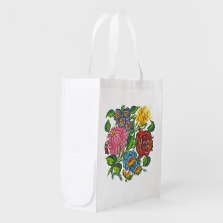 bold hungarian flowers reusable grocery bag