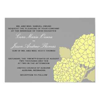 Bold Hydrangea Wedding Invitation- Gray/Yellow Card