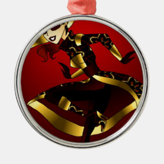 Bold In Red and Gold Metal Ornament