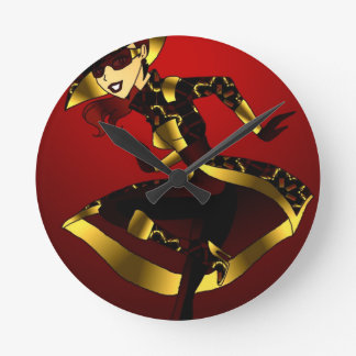 Bold In Red and Gold Round Clock