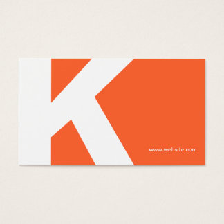 Bold Initial Monogram Orange Business Card