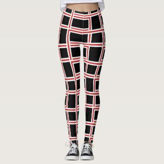 Bold Interlocking Red and White Rectangle Pattern Leggings