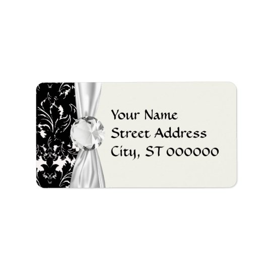 bold intricate black damask on white