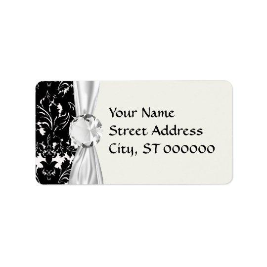 bold intricate black damask on white label