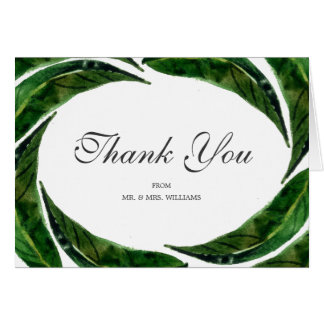 Bold Leaves Personalized Thank You Note Card
