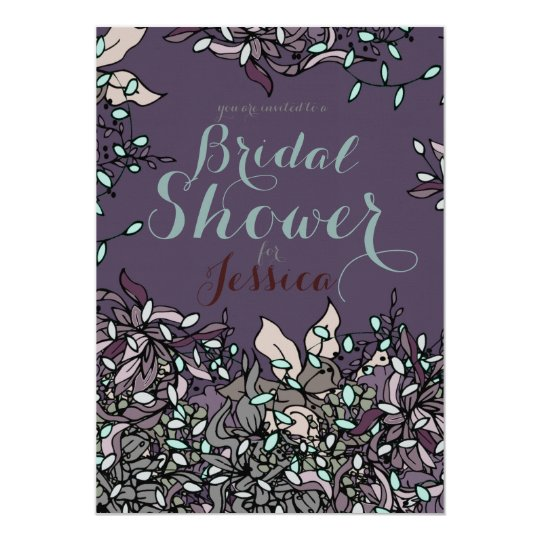 Bold Line Floral Bridal Shower Design Card