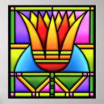 bold lotus/tulip stain glass design poster