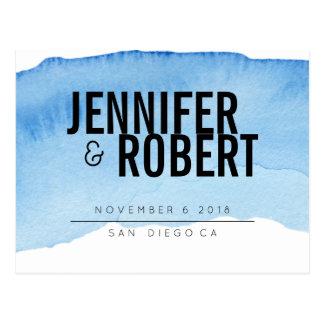 Bold Minimal BLUE watercolor BLACK SAVE THE DATE Postcard