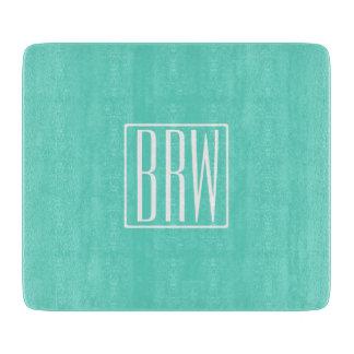 Bold Modern 3 Initials Monogram   White On Aqua Cutting Board