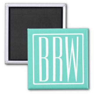 Bold Modern 3 Initials Monogram | White On Aqua Magnet