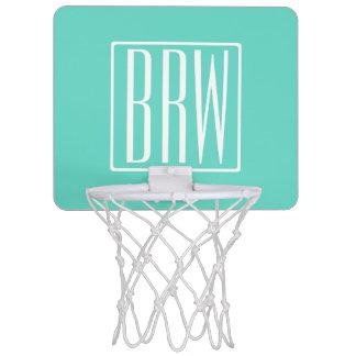Bold Modern 3 Initials Monogram | White On Aqua Mini Basketball Hoop