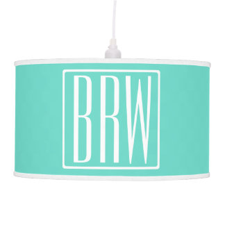 Bold Modern 3 Initials Monogram | White On Aqua Pendant Lamp