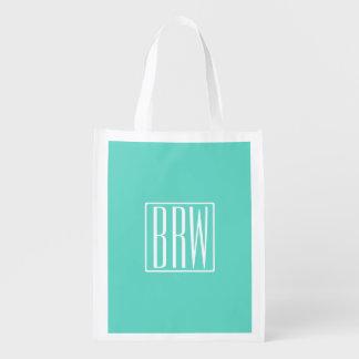 Bold Modern 3 Initials Monogram   White On Aqua Reusable Grocery Bag