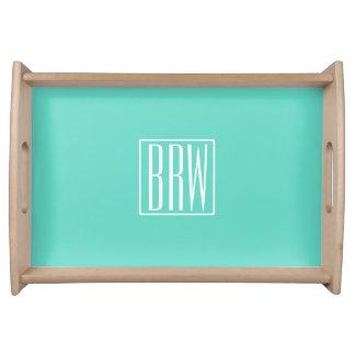 Bold Modern 3 Initials Monogram | White On Aqua Serving Tray