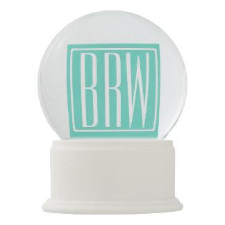 Bold Modern 3 Initials Monogram | White On Aqua Snow Globe