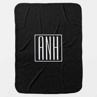 Bold Modern 3 Initials Monogram | White On Black Baby Blanket