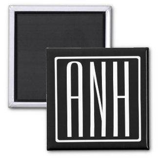 Bold Modern 3 Initials Monogram | White On Black Magnet