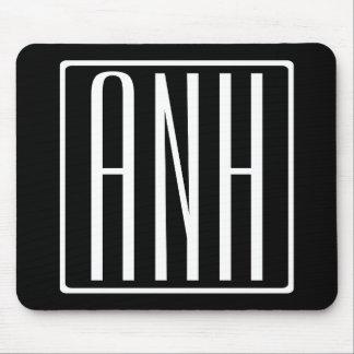 Bold Modern 3 Initials Monogram | White On Black Mouse Pad