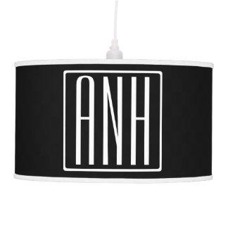 Bold Modern 3 Initials Monogram | White On Black Pendant Lamp