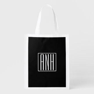 Bold Modern 3 Initials Monogram   White On Black Reusable Grocery Bag