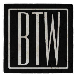 Bold Modern 3 Initials Monogram | White On Black Trivet