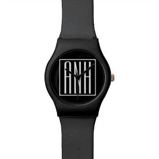 Bold Modern 3 Initials Monogram | White On Black Watch