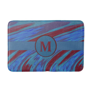 Bold Modern Abstract Monogram Blue Red Bathroom Mat