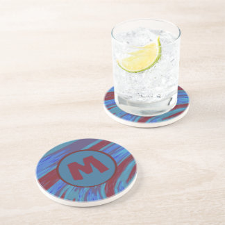 Bold Modern Abstract Monogram Blue Red Drink Coasters