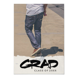 Bold Modern Black Text Boy Graduation Party Photo Card