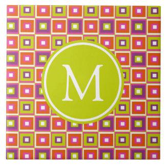 Bold Modern Citrus Squares Monogram Tile