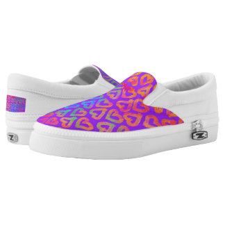 Bold Modern Colorful Hearts Pattern on Purple Slip-On Sneakers