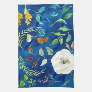 Bold Modern Fall Leaf Floral Acorn Seed Watercolor Kitchen Towel