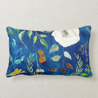 Bold Modern Floral Watercolor Leaves Fall Colors Lumbar Pillow