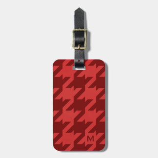 Bold modern grey houndstooth with monogram luggage tag