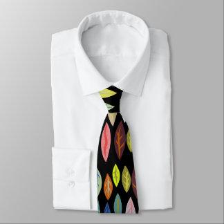 Bold Modern Leaf Pattern on Black Tie