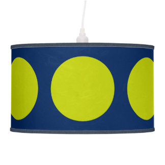 Bold Modern Lime Green Dots on Navy Blue Hanging Lamps