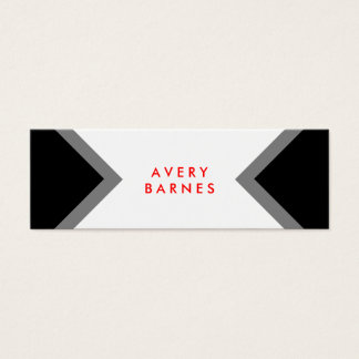 Bold Modern Minimalist Black and White Networking Mini Business Card