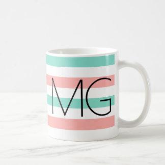 Bold Modern Monogram Stripes Pattern Coffee Mug