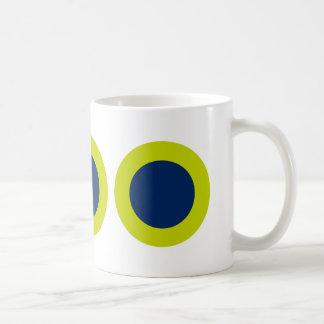 Bold Modern Navy Blue Dots on Lime Green Coffee Mug