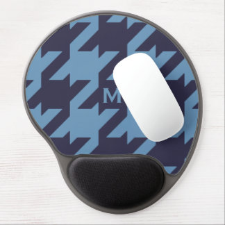 Bold modern navy blue houndstooth with monogram gel mouse pad