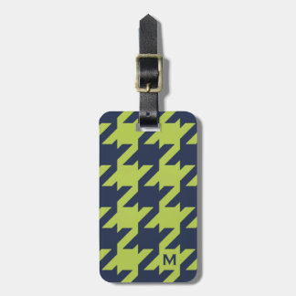 Bold modern navy green houndstooth with monogram bag tag