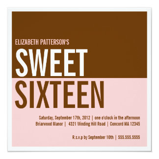 Bold Modern Pink & Brown Sweet Sixteen Invitation