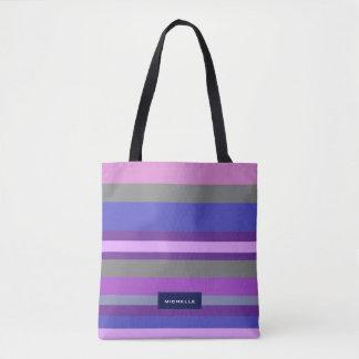 Bold Modern Pink Violet Blue Stripes Personalized Tote Bag