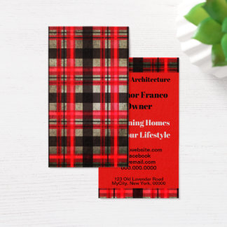 Bold Modern Red Black Plaid Tartan Professional Business Card